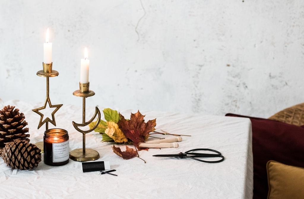 Kerzenhalter Herbst Tischdekoration