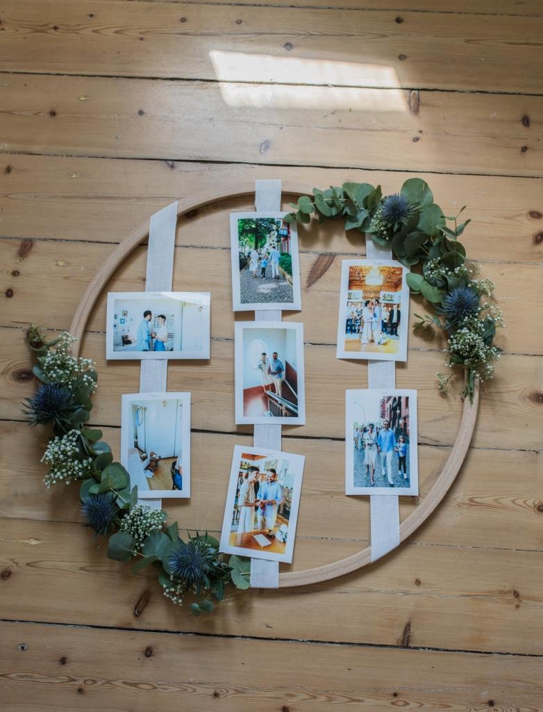 Holzreifen mit Bildern für das Hochzeittspaar