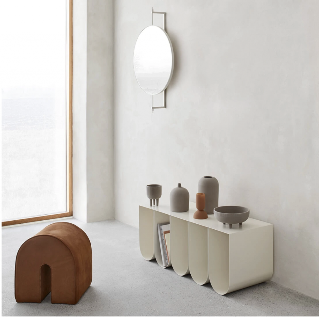 Kristina Dam Studio | Curved Side Bench | Storage Bench | Beige Steel | Danish Design