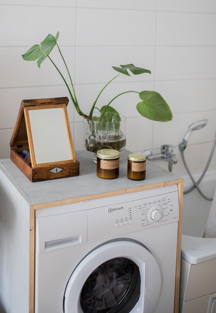 DIY Waschmaschinen Verkleidung Wasser Monstera PF Candle