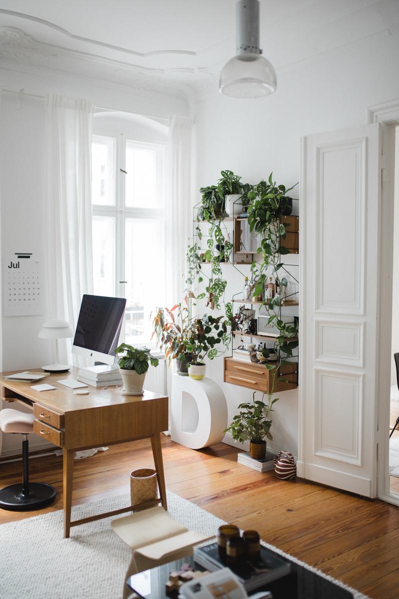 Home Office mit Pflanzenregal